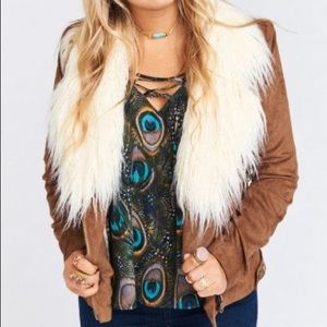 Show Me Your Mumu Amelia Suede Sherpa Jacket